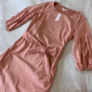 new york & company puff sleeve dress pale pink